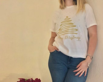"Women's Christmas T-shirt  ""Gold Christmas Tree"""