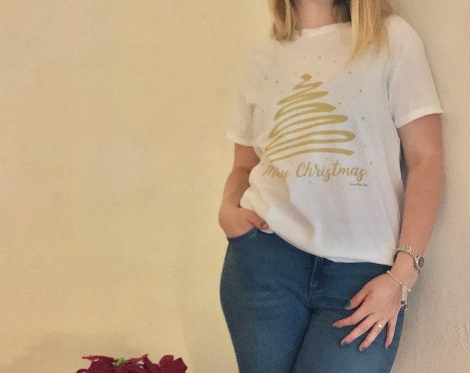 "Women's Christmas T-shirt  ""Gold Christmas Tree"""