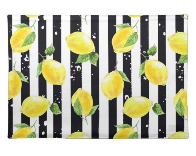 Lemon Placemat Set of 2, Black and White Stripe, Lemon and Stripe, Polyester Twill Placemats