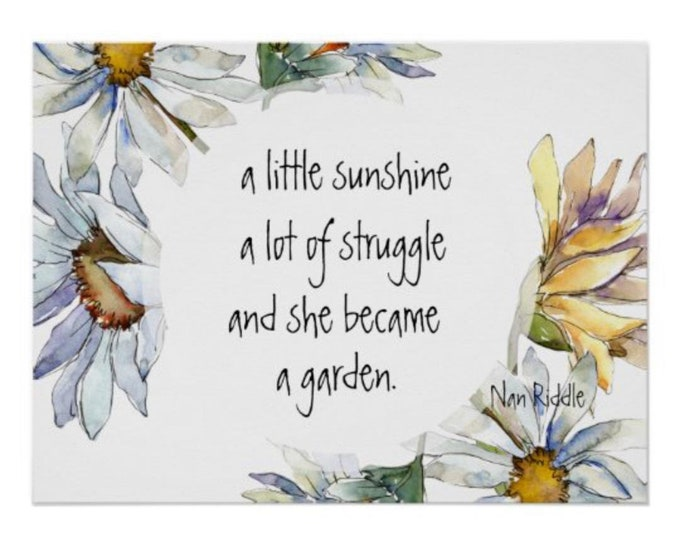 Daisy Print, Wall Art, Quote, White Daisy, Yellow Daisy, Watercolor, Floral Poster Print