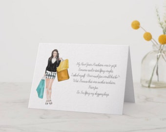 "Funny 5 X 7 Greeting Card ""Shopping Girl"""