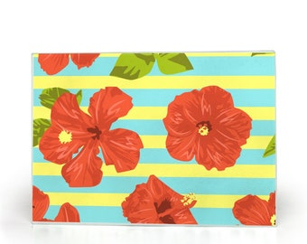 Glass Cutting Board, Red Hibiscus, Blue And Yellow Stripe