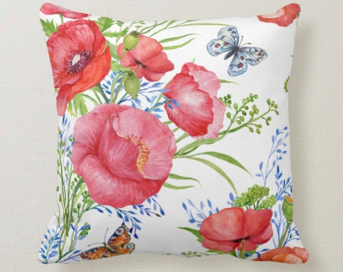 Throw Pillow, Watercolor Red Poppy, Butterfly, Floral Garden,