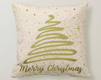 """Christmas Throw Pillow, Gold Damask, """"Merry Christmas"""" Christmas Tree, Pillow and Insert, Christmas Decor, Two Pillows in One"""
