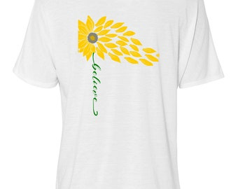 "Bella Women's Flowy Slouchy Tee, Yellow Wildflower ""Believe"" Sizes Small-Plus, Women's Relaxed T-shirt"