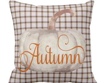 Fall Throw Pillow Plaid Autumn Pumpkin Decor Halloween & Thanksgiving Decorative Pillow