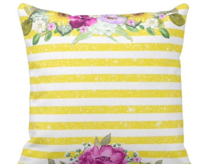 Yellow Striped Purple Sunflower Hydrangea Floral Throw Pillow