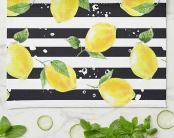 """Lemon Kitchen Towel, Lemon and Stripe, Yellow Lemons with Black and White Stripe, Lemon Kitchen Decor, Durable Poly-Blend, 16 """" X 24"""""""