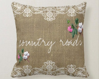 Cotton Bloom Burlap and Lace Country Roads Pillow