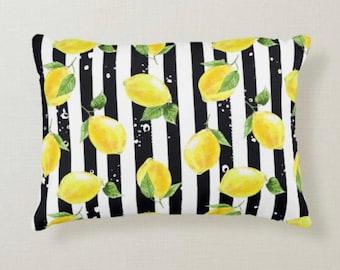 Lumbar Throw Pillow, Yellow Lemon Pattern, Black & White Striped, Zesty, Summer Pillow, Lemon and Stripe, Rectangle