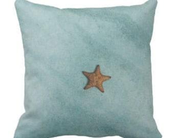"Throw Pillow ""Starfish On Turquoise Ocean"""