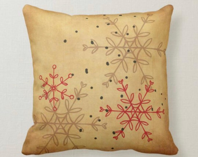 Retro Christmas Snowflake Pillow, Distressed Tan, Red, Black, Mid-Century Christmas Design, Mid-Century Christmas Decor