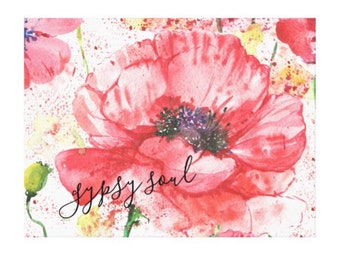 "Canvas Print, Red Poppy Garden ""Gypsy Soul"" Floral, Wildflower, Wall Art"