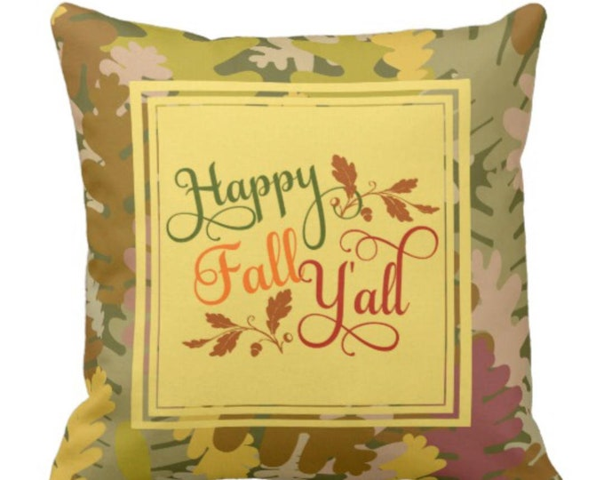 "Throw Pillow Autumn Camo ""Happy Fall Y'all"""