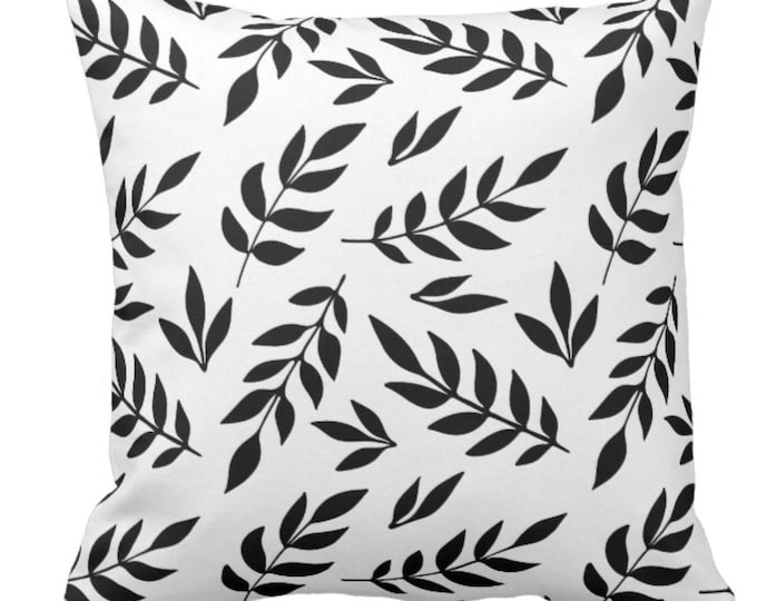 Black & White Botanical Throw Pillow