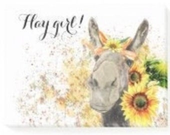 """Sunflower Post-It Notes  """"Hay Girl"""" Watercolor Donkey with Sunflowers, Gifts for Her, Fall Sunflower Gifts,"""