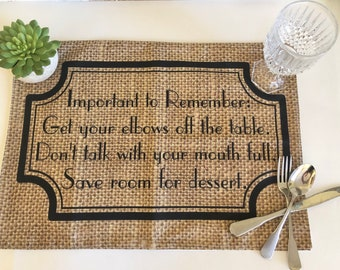 "Funny Thanksgiving Placemat with Words, ""Important to Remember"" Fall Cloth Placemat, Burlap Design, Fall Table Decor"