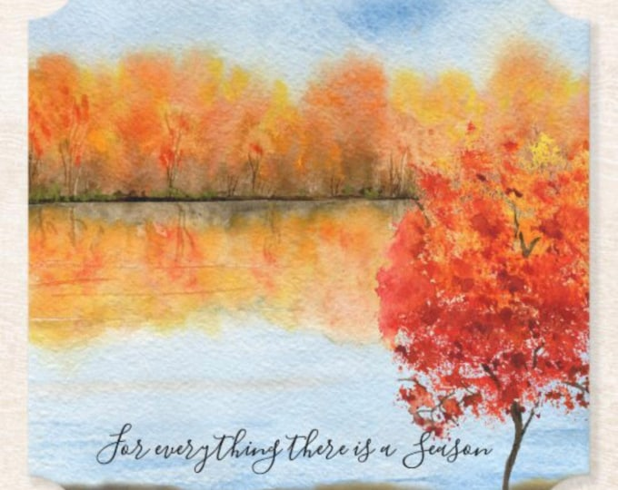 """Fall Paper Coaster Set of 6, Watercolor Landscape """"for everything there is a season"""" Thanksgiving Table, Fall Gathering, Fall Table, Coaster"""