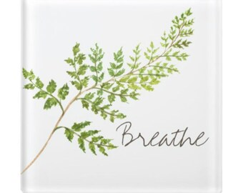 "Glass Coaster, ""Breathe"" Green Fern, Botanical, Botanic Coaster"