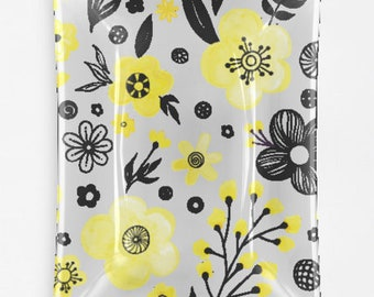 Yellow & Black Decorative Floral Daisies Glass Tray