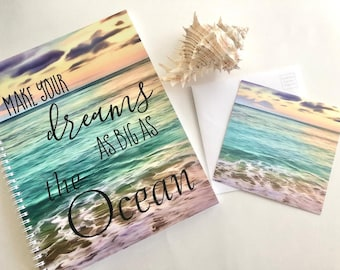 "Set Ocean Daily Planner, ""Dreams As Big As the Ocean"" with Flat Card/Envelope, Gift Giving, Beach Theme"