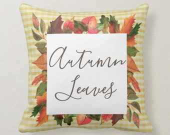 Throw Pillow, Autumn Leaves, Yellow Gingham, Fall Home Decor, Accent Pillow