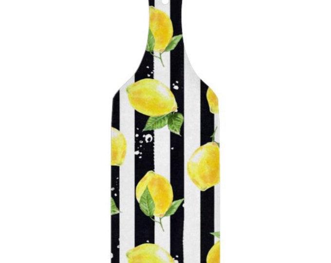 Lemon Glass Cutting Board, Paddle, Lemon and Stripe, Lemon Kitchen Decor