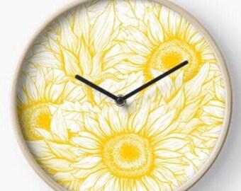 Sunflower Quartz Wall Clock, Golden Sunflower, Floral Design Clock, Battery Powered, Yellow Sunflower Pattern, Bamboo Wood Frame, Wall Decor