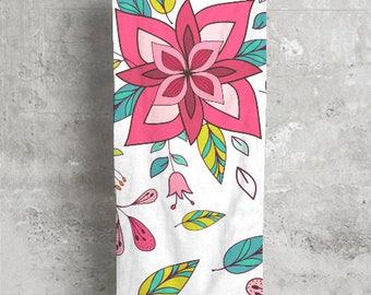 Pink Floral Boho Modal Scarf