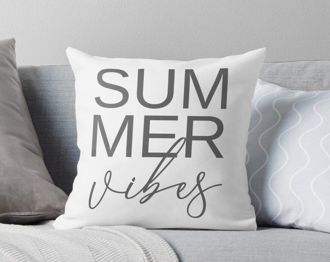 Summer Vibes Pillow Cover, Zippered Pillow Cover, White and Gray, Light and Airy Home Accent Pillow, Summer Pillow Cover, Minimalist Pillow
