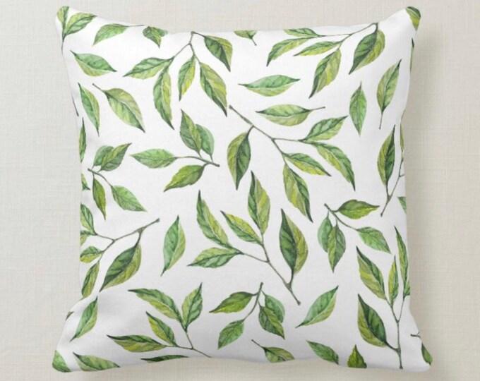 Lemon Throw Pillow, Lemon Leaves, Watercolor Green, Lemons Home Decor