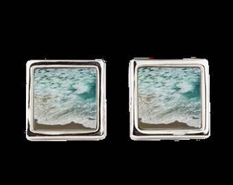 """Square Cufflinks """"Ocean Meets Beach"""""""