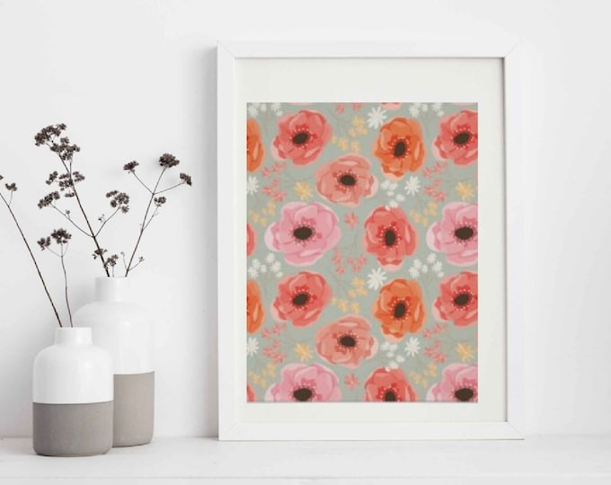 Floral Wall Art, Orange, Peach, Pink, Coral Colors Wall Decor, Floral Wall Accent, Floral Wall Poster, Ready to Frame, Floral Home Accent