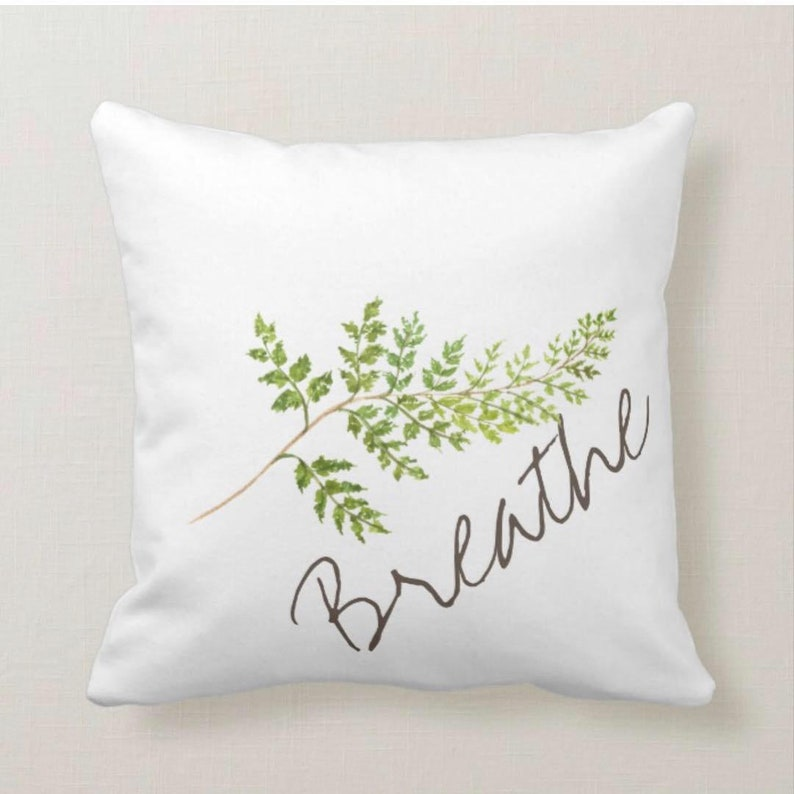 Watercolor Fern Frond on White Pillow Breathe image 0