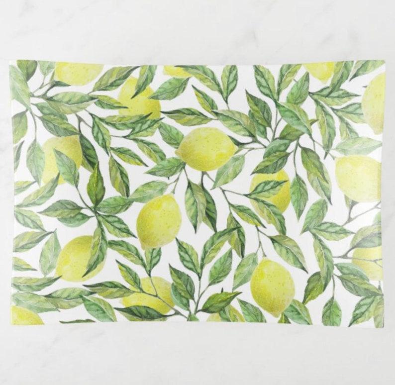 Lemon Decorative Glass Tray Lemon and Leaves Yellow and image 1
