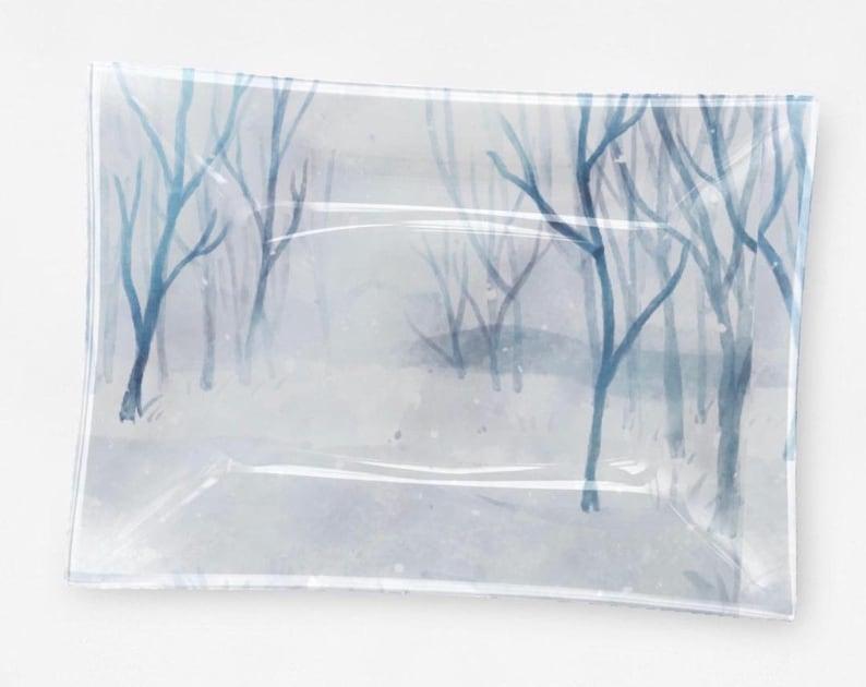 Winter Snow Scene Decorative Glass Tray Blue and White image 0