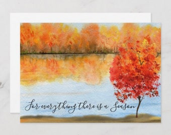 """Autumn Greeting Card Set of 3, Quote """"For everything there is a season.""""  Watercolor Fall Landscape, Fall Greeting Card to Frame, 5X7, Blank"""