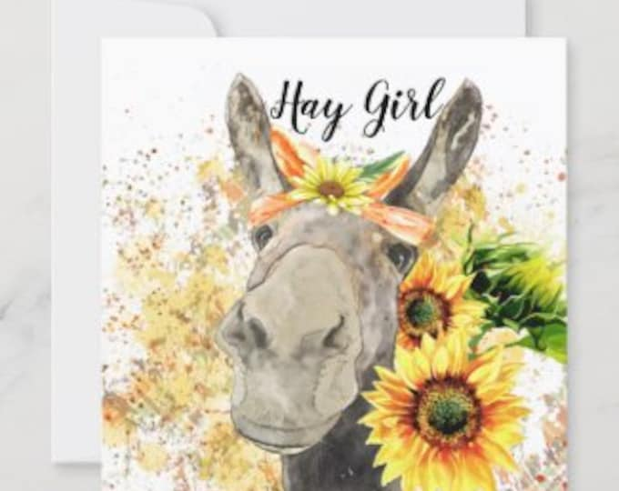 """Sunflower Flat Card Set of 3 """"Hay Girl"""" Watercolor Donkey with Sunflowers, Blank Cards, Cards for Her, Fall Greeting Cards, Sunflower Cards"""