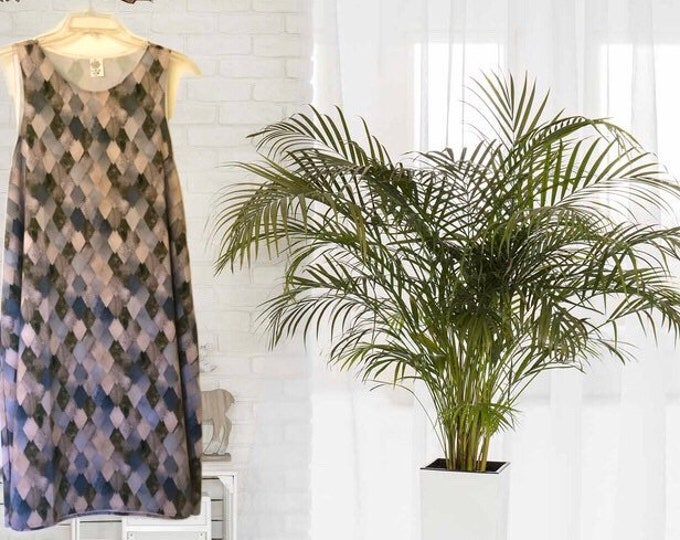 A-Line Dress, Dragon Scale Pattern, Tan, Grey, Brown, Women Dress, Neutral Colors, Flatters All Figures, Womens Dress, Flowy Style