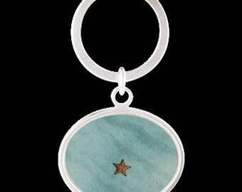 "Keychain ""Starfish In Turquoise Ocean Water"""