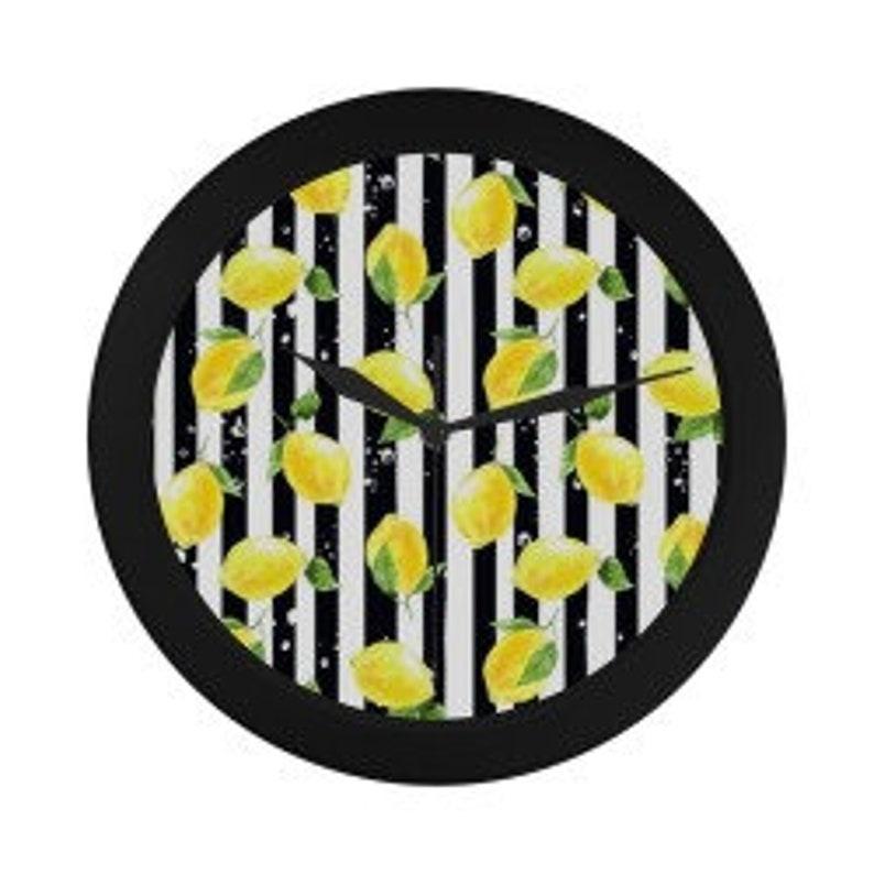 Lemon Wall Clock Yellow Lemon Pattern Black & White Striped Black