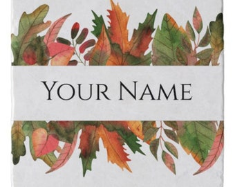 Personalize, Autumn Trivet, Your Name, Fall Leaves, Fall Kitchen Decor, Marble Stone Trivet