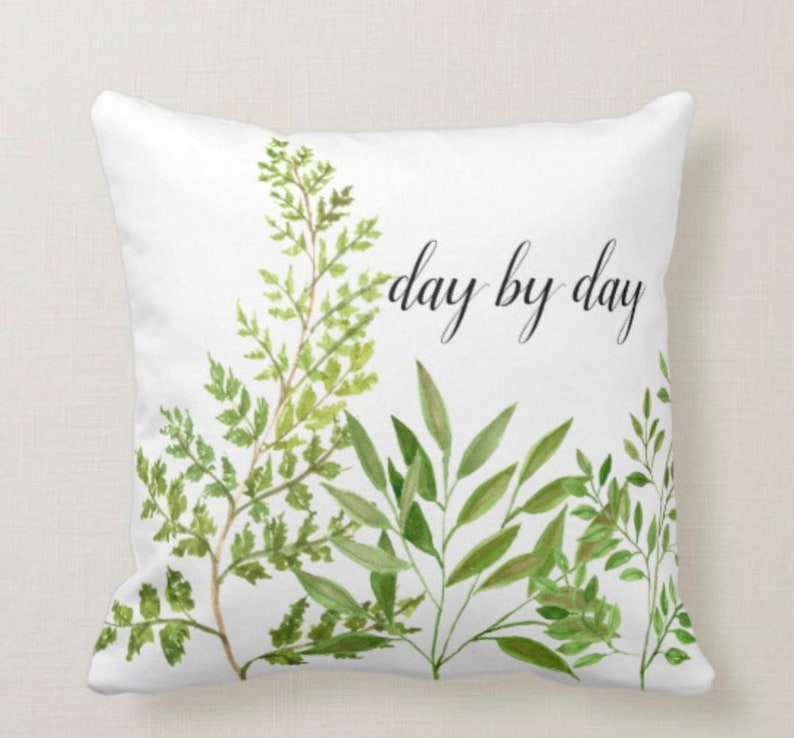 White Throw Pillow Green Botanical day by day image 1