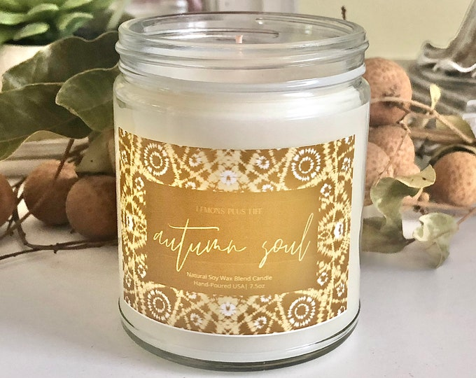 Autumn Soul Natural Soy Wax Blend Candle 7.5oz, Fall Candles, Fall Gifts for Her, Vanilla and Cinnamon Candle, Artisan Candle