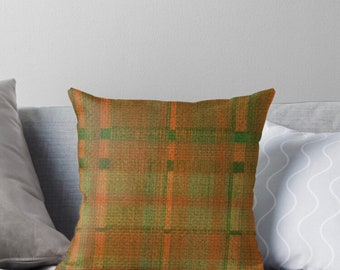 Tartan Plaid Pillow, Orange, Green, Tartan Plaid Accent Pillow, Living Room Refresh, Earth Colors Home Accent, Fall Pillow, Insert and Cover