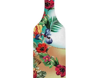 Tropical, Glass Cutting Board, Paddle, Exotic Floral, Turquoise and Tan Hush