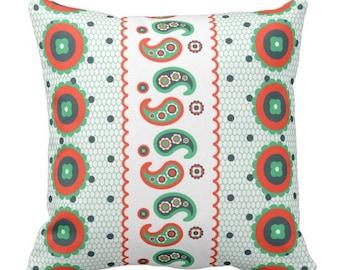Indie Pattern Pillow in Red Green Teal
