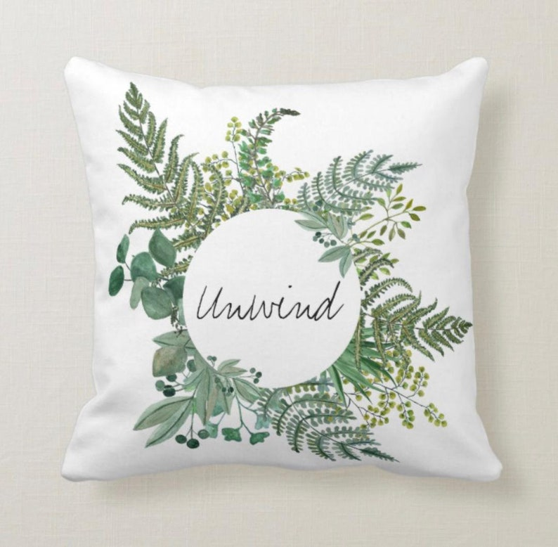 Woodland Fern Wreath White Throw Pillow Unwind image 0