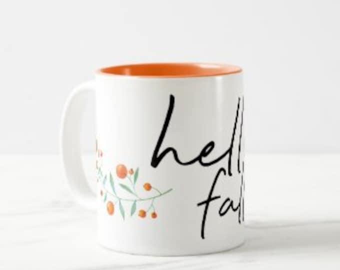 "Fall Ceramic Mug ""Hello Fall"" Fall Drinkware, Fall Gifts for Her, Fall Hostess Gifts, Mug With Words"