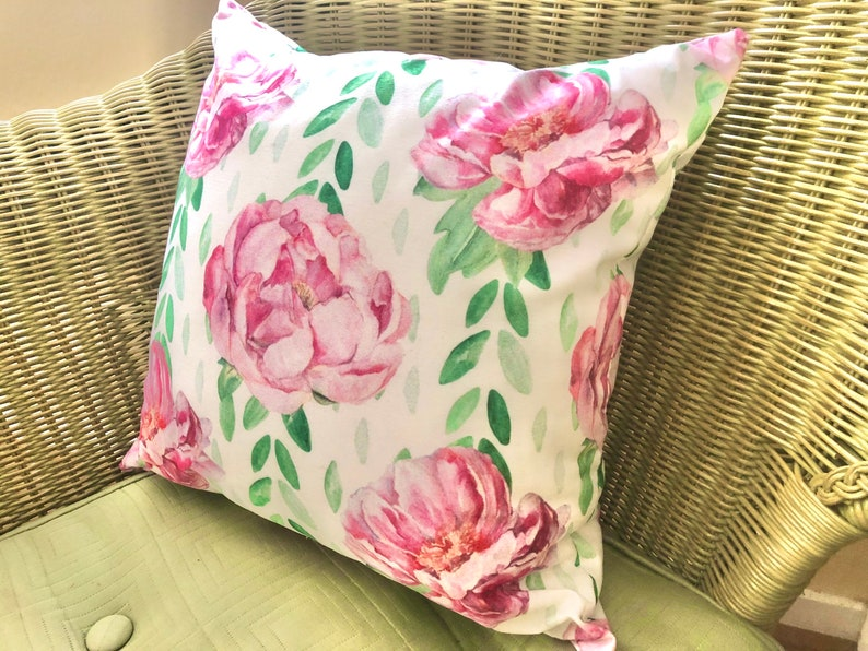 Watercolor Vintage Design  Pink Peonies Cottage Throw image 1